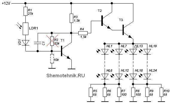 схема блока ИК подсветки